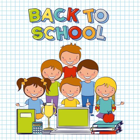 kids with laptop trophy book and calculator back to school vector illustration Stok Fotoğraf - 126381110
