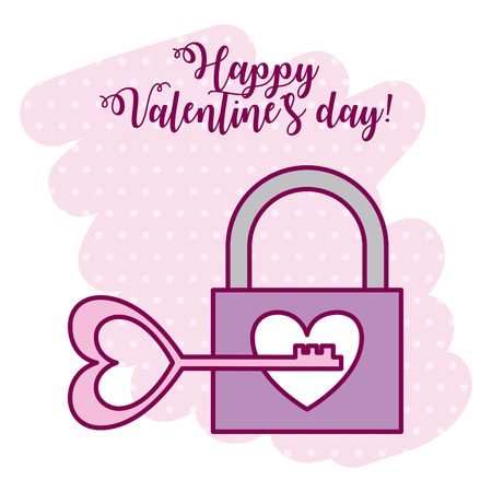 padlock key love heart valentine day vector illustration Standard-Bild - 126381116