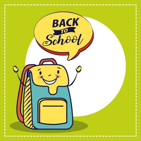 happy cartoon school backpack character vector illustration 向量圖像