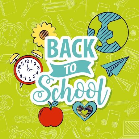 back to school poster apple plane world clock vector illustration
