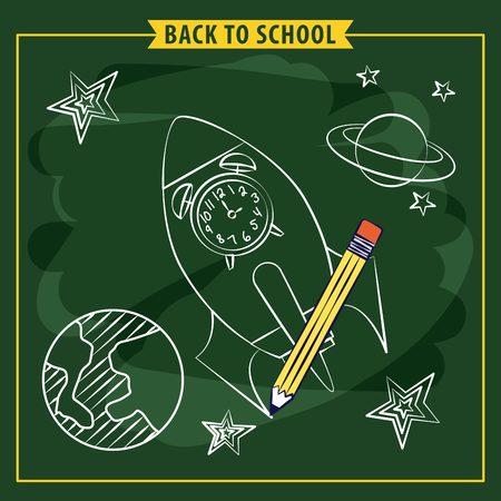 rocket clock planet back to school vector illustration
