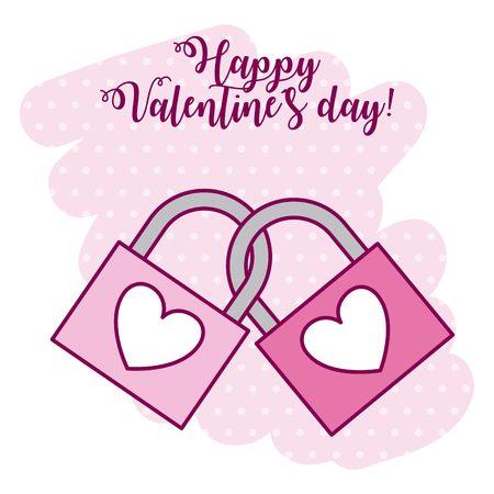 linked padlocks love valentine day vector illustration Çizim