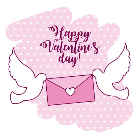 flying pigeons with message valentine day vector illustration