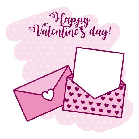 mail envelope message love valentine day vector illustration