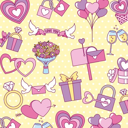 valentine day background gift dove flowers mail vector illustration Foto de archivo - 114783826