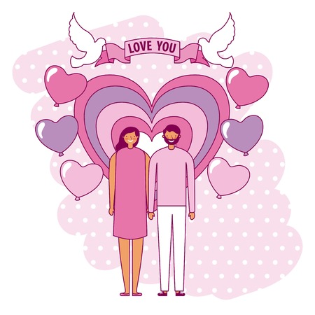 couple holding hands heart balloons valentine day vector illustration