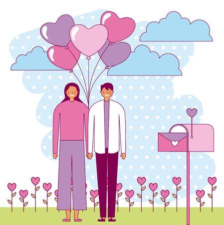 couple holding bunch balloons valentine day vector illustration Illusztráció