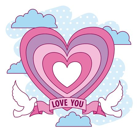 romantic love heart dove ribbon valentine day vector illustration