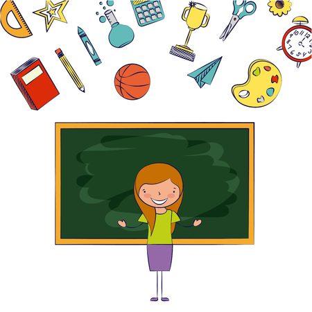 teacher classroom blackboard back to school vector illustration Illustration