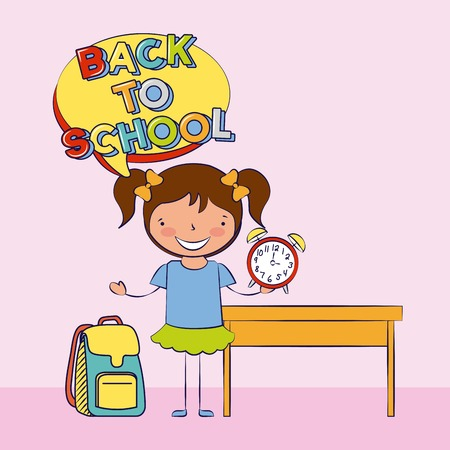 girl holding clock backpack back to school vector illustration