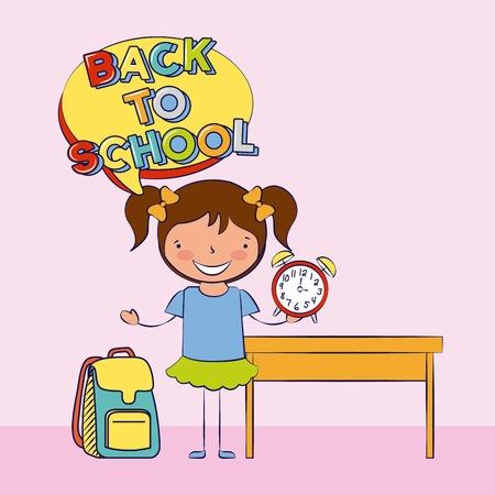 niña sosteniendo la mochila del reloj de regreso a la escuela ilustración vectorial