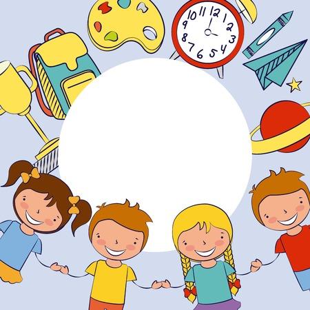 Jungen und Mädchen zurück zur Schulvektorillustration
