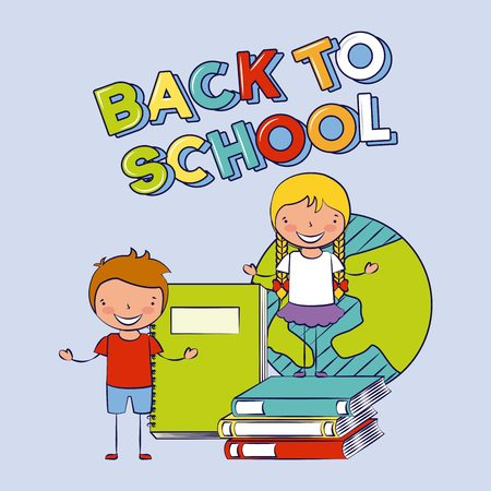 boy and girl with books world back to school vector illustration  イラスト・ベクター素材