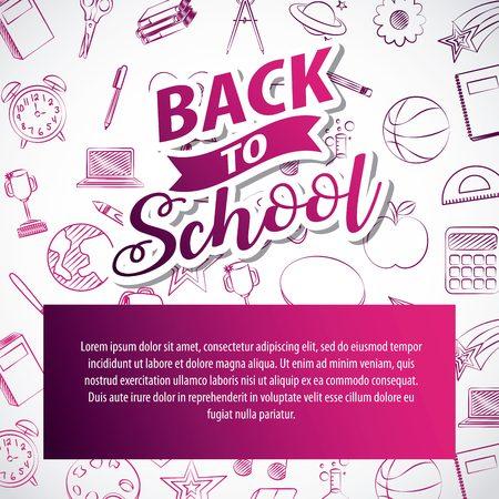 back to school lettering card vector illustration