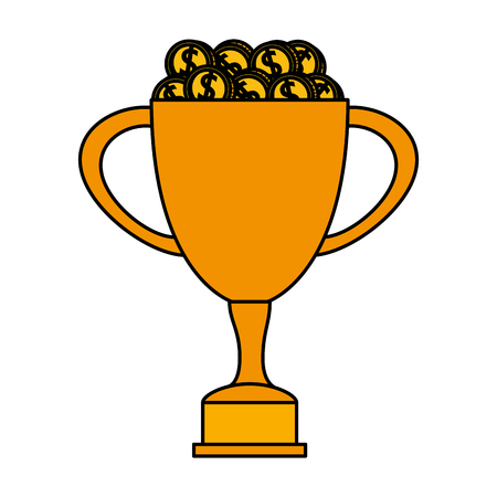 trophy cup award with coins money vector illustration design 일러스트