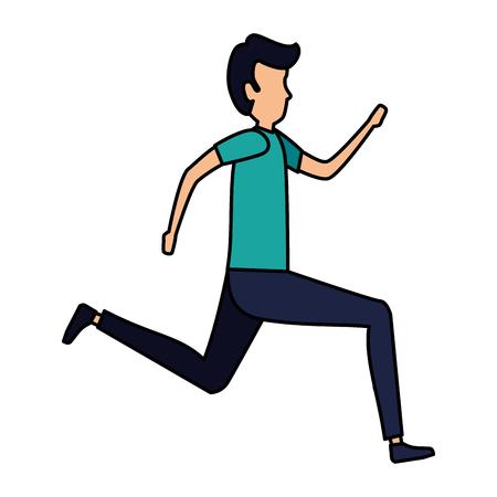 elegant businessman running character vector illustration design Çizim