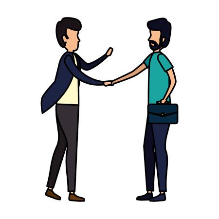 couple of businessmen done deal vector illustration design