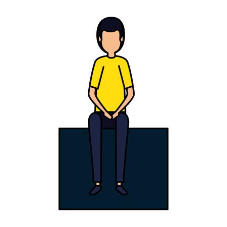 businessman sitting in cube vector illustration design