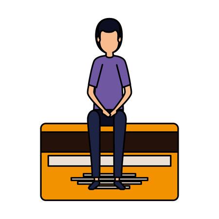 elegant businessman sitting in credit card vector illustration design