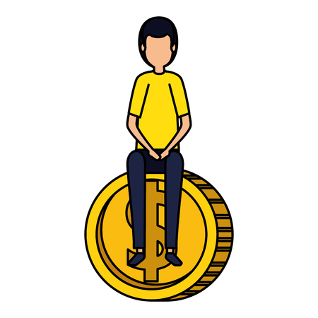 elegant businessman sitting in coin vector illustration design