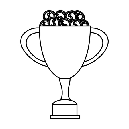trophy cup award with coins money vector illustration design Stock Illustratie