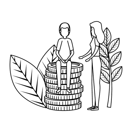 business couple with coins and plants vector illustration design