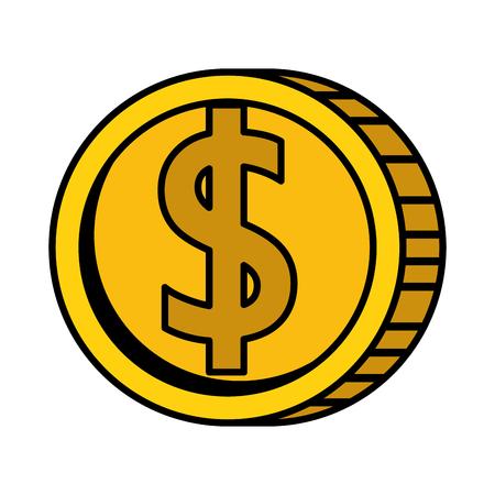 Münzengeld lokalisiertes Ikonenvektor-Illustrationsdesign