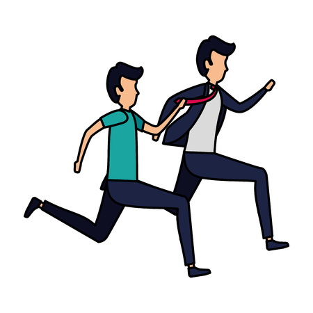 couple of men running characters vector illustration design