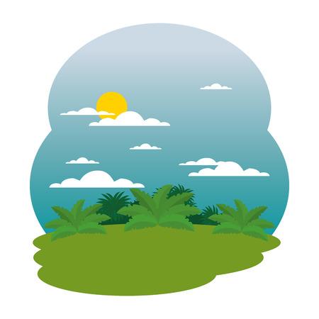 camp field landscape scene vector illustration design