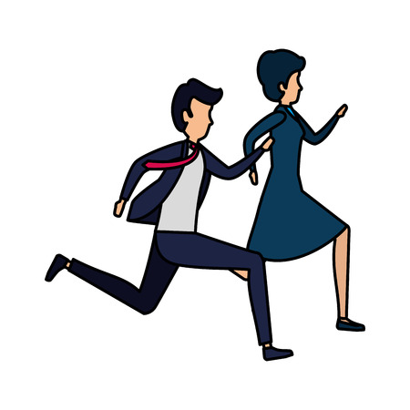 business couple running characters vector illustration design