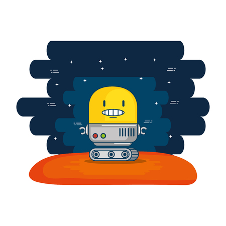 cute robot electronic with universe background vector illustration design Reklamní fotografie - 114785255
