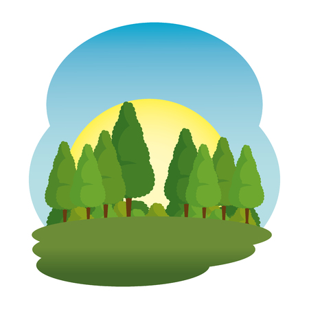 camp field landscape scene vector illustration design