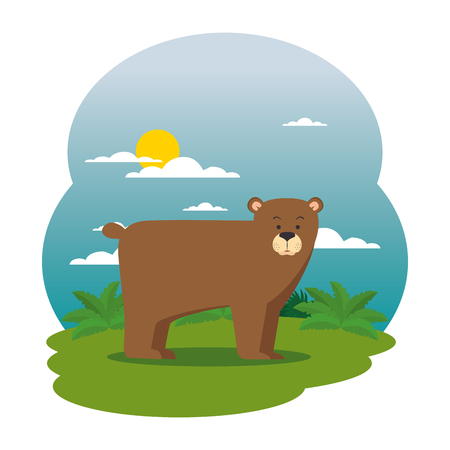 cute grizzly bear in the field scene vector illustration design