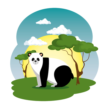 cute panda bear in the field scene vector illustration design Çizim