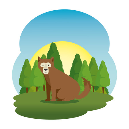 cute grizzly bear in the field scene vector illustration design Stock Vector - 114785167