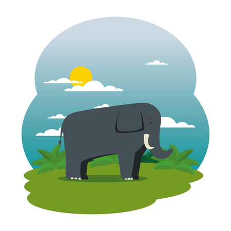 cute elephant in the field scene vector illustration design Çizim