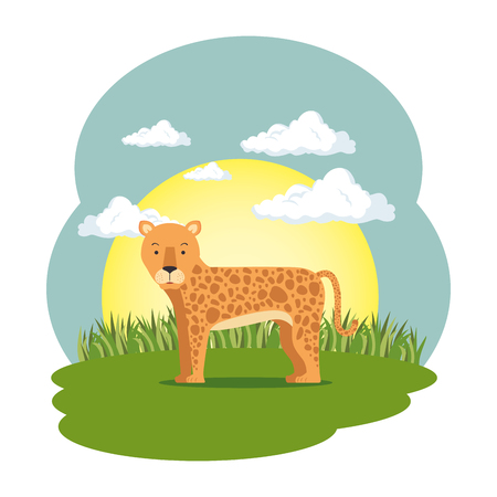 cute leopard in the field scene vector illustration design