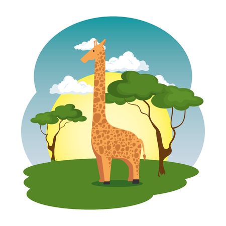 cute giraffe in the field scene vector illustration design Çizim