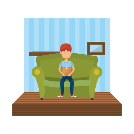 delivery service in the livingroom vector illustration design