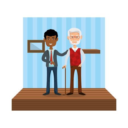 elegant businessman with old man in the home vector illustration design