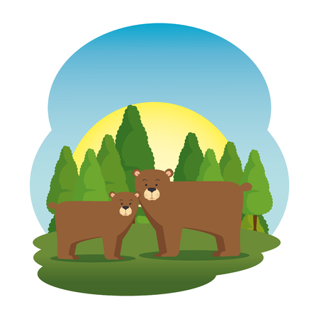 cute grizzly bears couple in the field scene vector illustration design