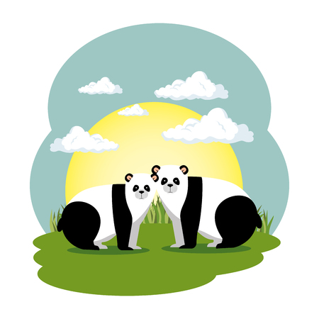 cute panda bears couple in the field scene vector illustration design
