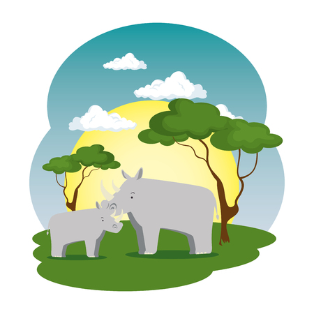 cute rhinos couple in the field scene vector illustration design Foto de archivo - 114785345