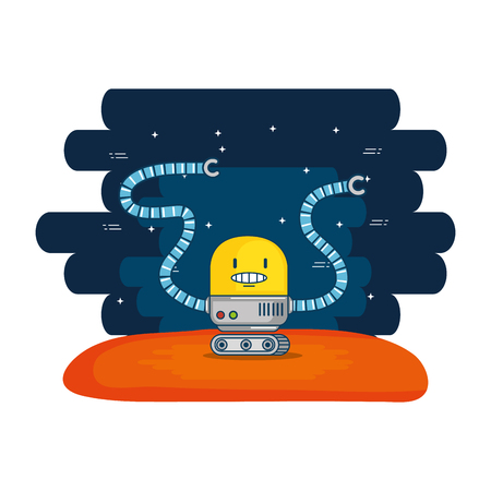 cute robot electronic with universe background vector illustration design