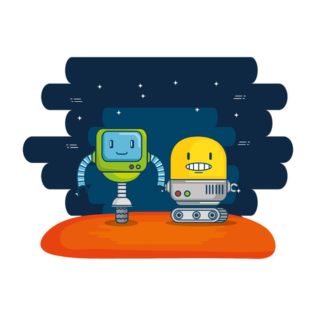 couple of cute robots with universe background vector illustration design