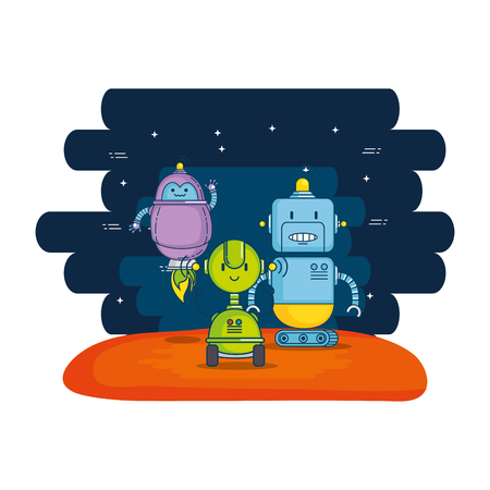group of cute robots with universe background vector illustration design Illustration