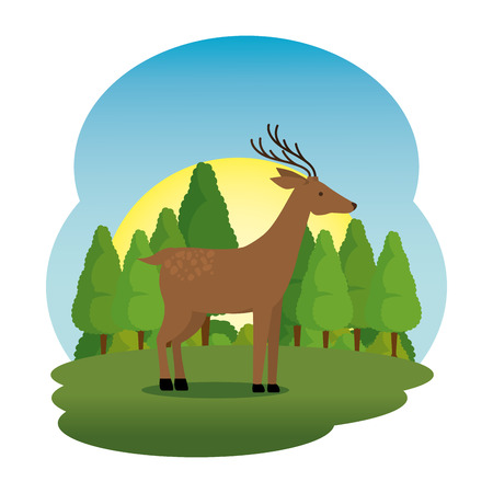 cute deer in the field scene vector illustration design  イラスト・ベクター素材