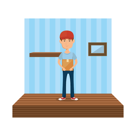 delivery worker in the corridor house vector illustration design