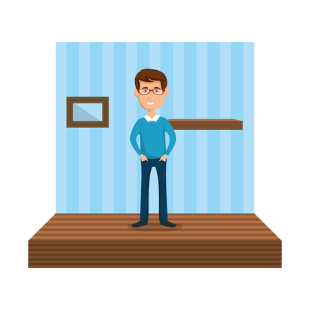young man in the corridor house vector illustration design