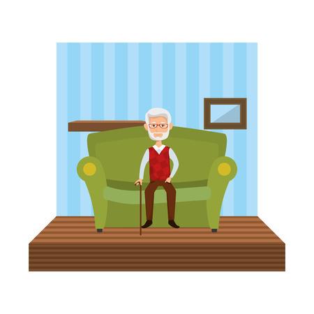 cute grandfather sitting in sofa vector illustration design Фото со стока - 126381268